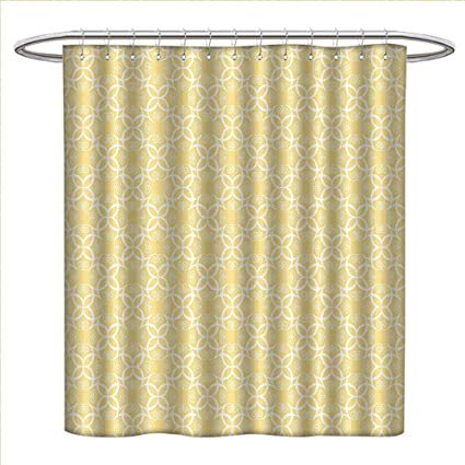 Zojihouse Yellow And White Shower Curtains Digital Printing Ornate Floral Pattern With Swirls Curls Symmetrical Overlap
