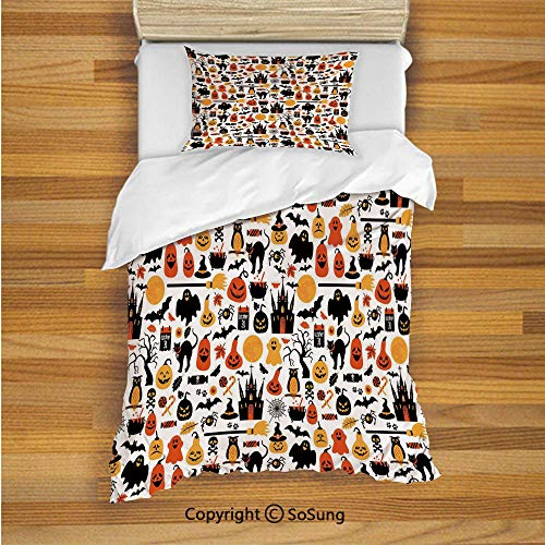 SoSung Halloween Kids Duvet Cover Set Twin Size, Halloween Icons Collection Candies Owls Castles Ghosts October 31 Theme Decorative 2 Piece Bedding Set with 1 Pillow Sham,Orange Yellow Black -