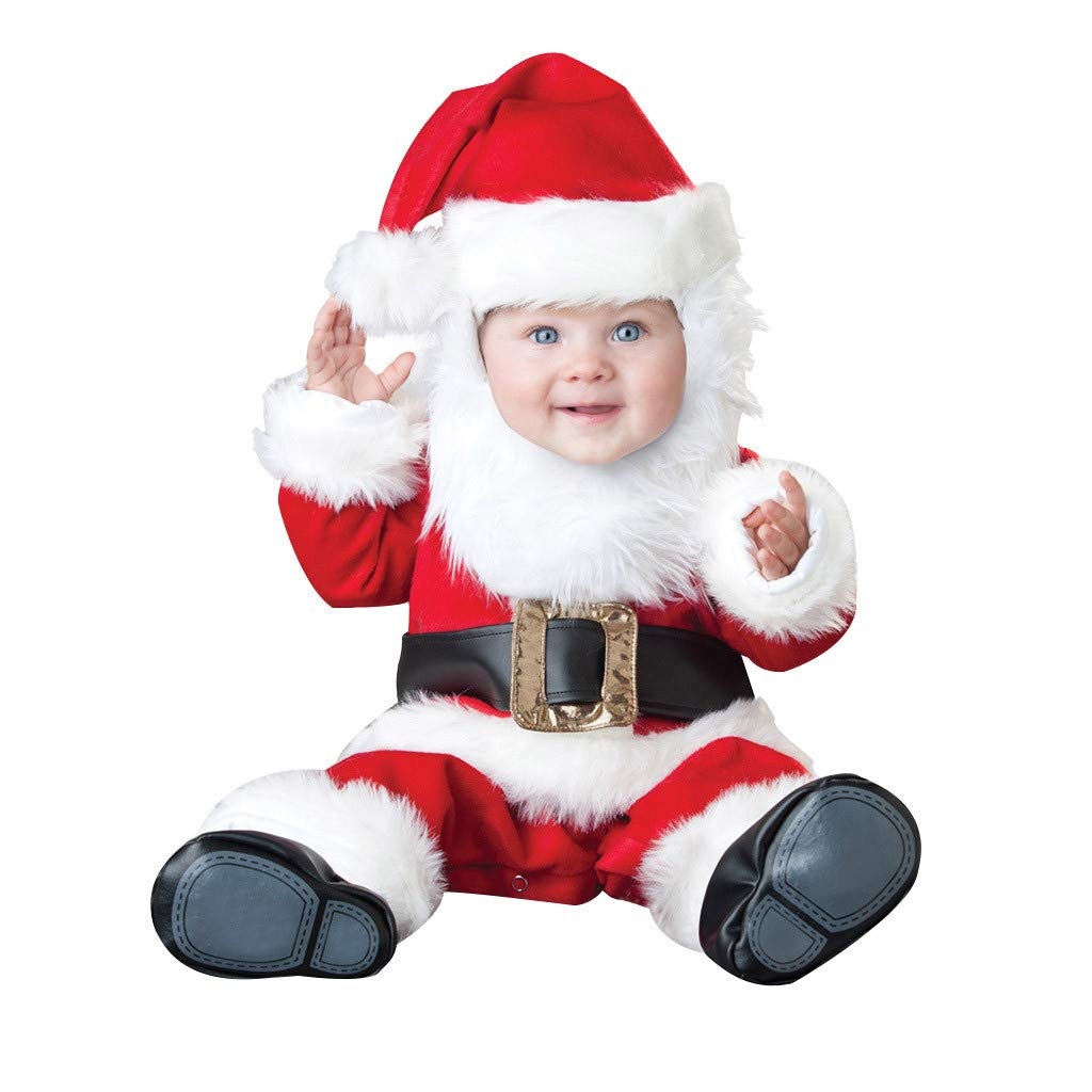 Voberry Christmas Costume for Kids Baby Girl Boy Infant Toddler Cosplay Santa Tops Pants Hat Belt Set Outfits Red by Voberry@123
