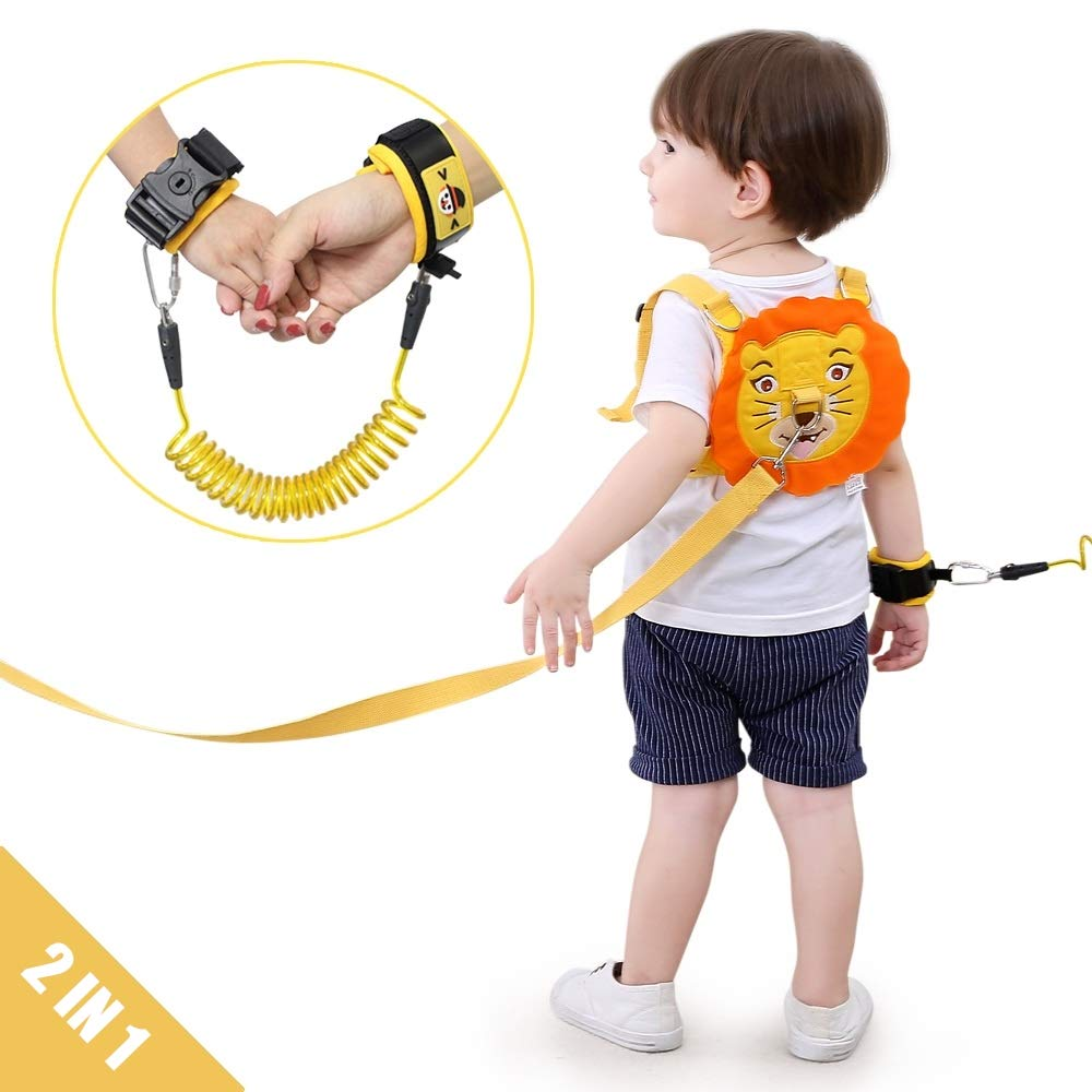 Lehoo Castle Toddler Leash for Walking, Toddler Safety Harnesses Leashes, Safety Harness with Lock for Kids, Anti Lost Wrist Link Safety Wrist Link for Toddlers (Lion) by Lehoo Castle