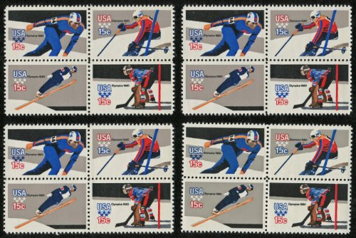 1980 WINTER OLYMPICS '80 ~ LAKE PLACID, NEW YORK ~ DOWNHILL SKIING ~ SPEED SKATING ~ ICE HOCKEY ~ SKI JUMP #1798a ~ Lot of 16 stamps total