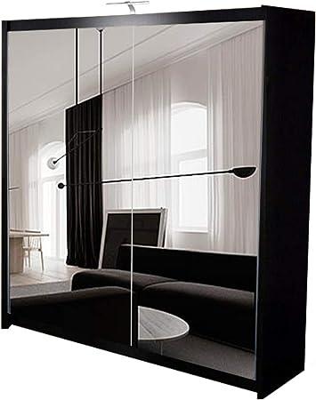 Armario Deslizante 4U Queen Puerta corredera Espejo Completo Armario con luz LED, cajones, Barra para Colgar y estantes, Negro, 200 cm: Amazon.es: Hogar