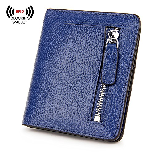 Blue Wallet Mini (S-ZONE Women's Genuine Leather RFID Blocking Bifold Pocket Small Wallet Coin Holder (Blue))