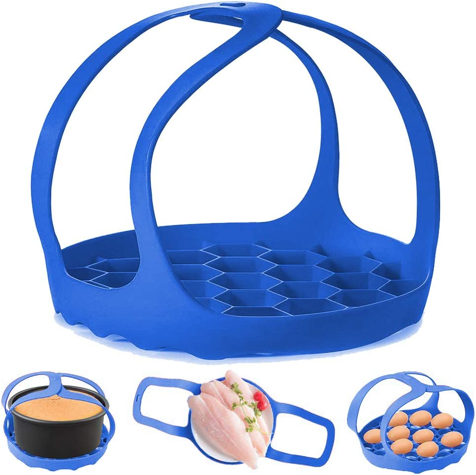 Pressure Cooker Sling,Silicone Bakeware Sling for 6 Qt/8 Qt Instant Pot , Ninja Foodi and Multi-function Cooker Anti-scalding Bakeware Lifter Steamer Rack,BPA-Free Silicone Egg Steamer Rack (Blue)