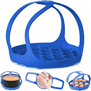 Pressure Cooker Sling,Silicone Bakeware Sling for 6 Qt/8 Qt Instant Pot, Ninja Foodi and Multi-function Cooker Anti-scalding Bakeware Lifter Steamer Rack,BPA-Free Silicone Egg Steamer Rack (Blue)