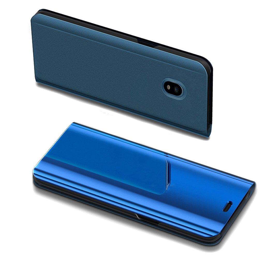 Galaxy J7 Pro Case,Galaxy J7 Pro Mirror Case,ikasus Ultra-Slim Luxury Plating Mirror Makeup Case Cover PU Leather Flip Stand Kickstand Protective Case Cover for Galaxy J730 J7 Pro (2017),Blue by ikasus (Image #5)