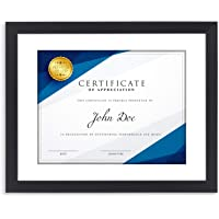 Langdons 11x14 Certificate Frame (1 Pack, Black) 11 x 14 Frame Matted to 8.5x11 Diploma, Wall Mount Hooks Included with…