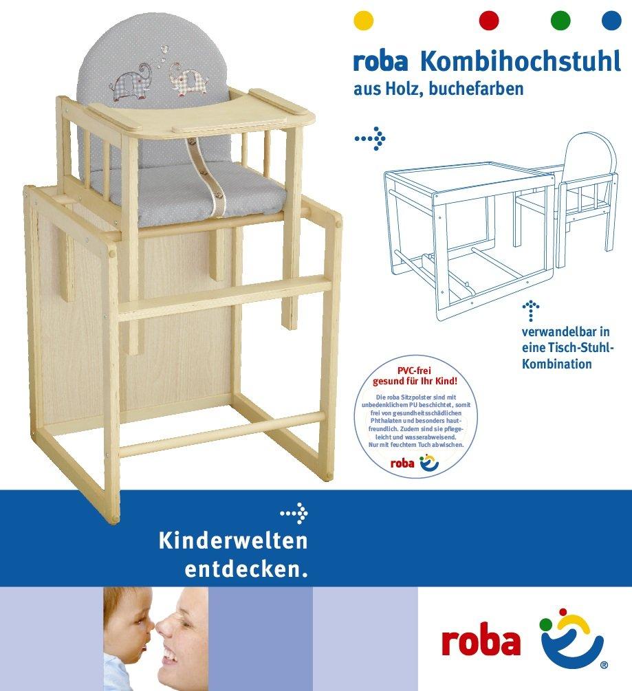 asiento tapizado en dise/ño Babyowls Trona Combi roba trona con bandeja transformable en silla y mesa independientes trona infantil en madera natural