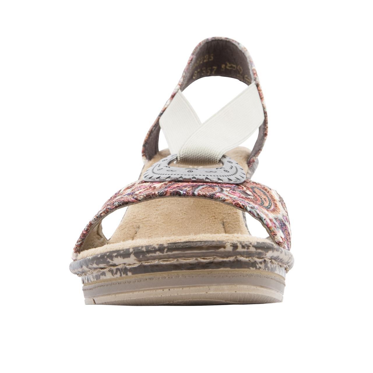 Rieker Ladies Roberta Sparkle Pink Wedge Sandals Size 8