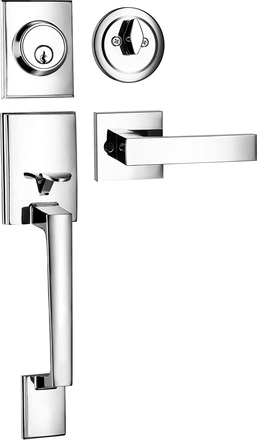 Berlin Modisch HandleSet Front Door Entry Handle and Deadbolt Lock Set Slim Square Single Cylinder Deadbolt and Lever Reversible for Right /& Left Sided Doors Heavy Duty Polished Chrome Finish
