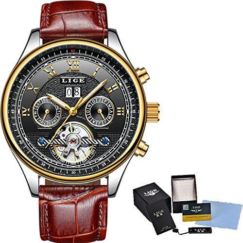 Amazon.com: Luxury Brand LIGE Fashion Business Automatic Machinery Watches Men Full Steel Waterproof Watch Man Clock relogio Masculino 30 (Leather Brown ...