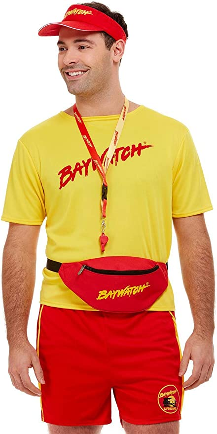 80s Costumes, Outfit Ideas- Girls and Guys Smiffys Red Baywatch Kit (Visor Bumbag & Whistle) for Men and Women One Size $16.19 AT vintagedancer.com