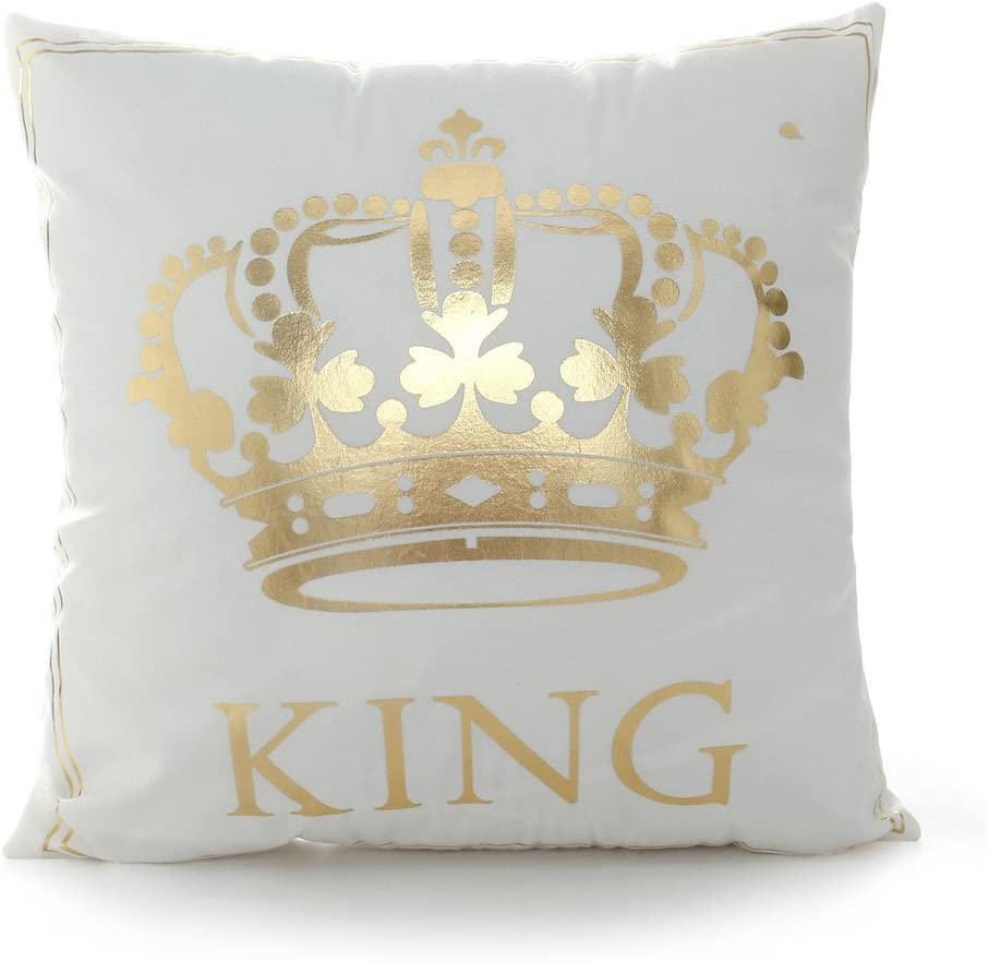18 18 Inch Gold King Crown Home Bronzing Flannel Throw Pillow Cover Golden King Queen Crown Geometric Line Pattern Cushion Covers Sofa Home Decor