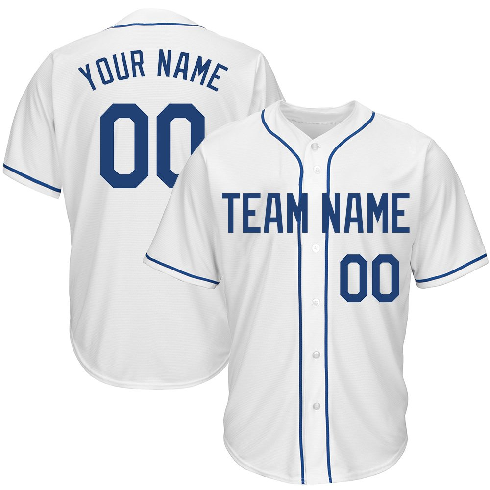 Custom Youth White Mesh Baseball Jersey with Embroidered Team Name Player Name and Numbers,Navy Size L by DEHUI