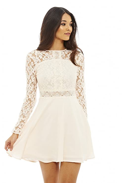 Amazon.com: AX Paris Womens Long Sleeve Lace Skater Prom Dress(Nude, Size:10): Clothing