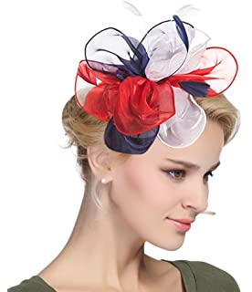 eebb4021c632e Urban CoCo Women's Vintage Flower Feather Mesh Net Fascinator Hair Clip Hat  Party Wedding