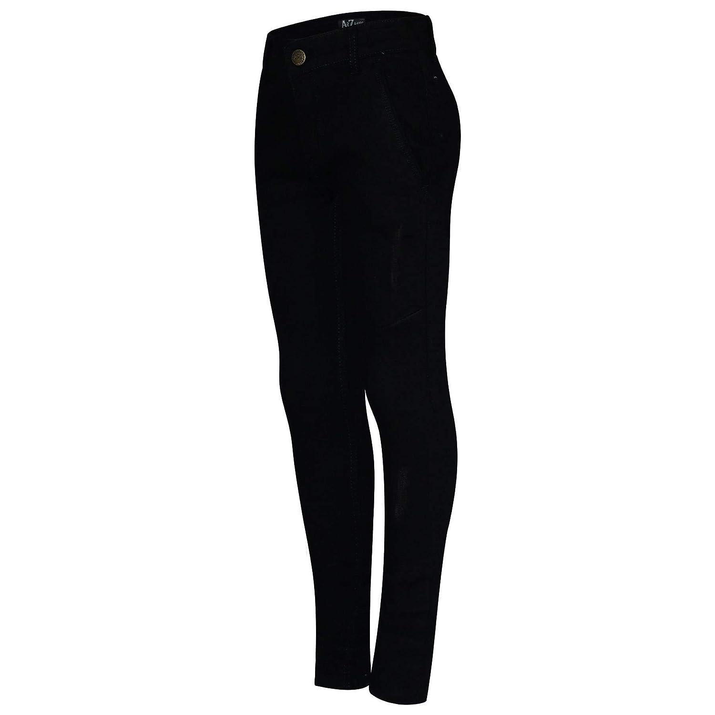A2Z 4 Kids Kids Boys Skinny Jeans Designer Jet Black Denim Ripped Bikers Fashion Stretchy Pants Trendy Slim Fit Adjustable Waist Trousers New Age 5 6 7 8 9 10 11 12 13 Years