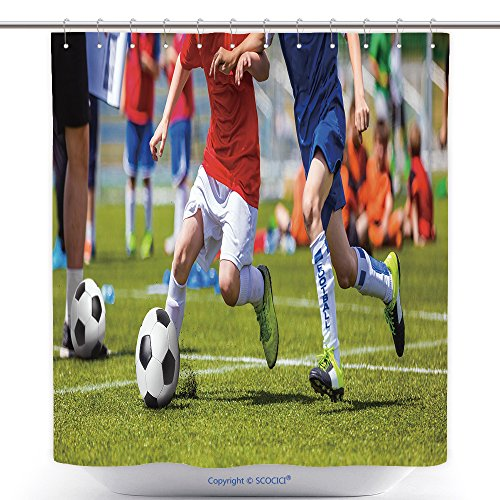 Soccer Tournament Costume Ideas (Antibacterial Shower Curtains Football Soccer Match For Children Kids Playing Soccer Game Tournament Boys Running And Kicking 548365051 Polyester Bathroom Shower Curtain Set With Hooks)