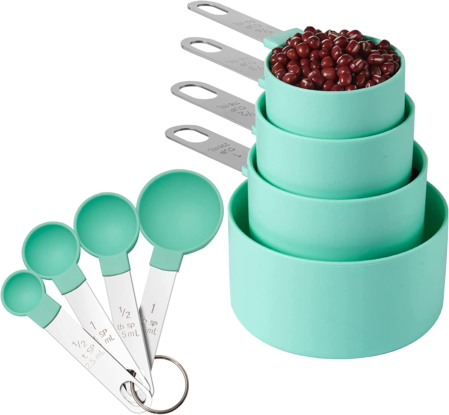 Measuring Cups and Spoons Set of Huygens Kitchen Gadgets 8 Pieces, Stackable Stainless Steel Handle Measure Cups for Measuring Dry and Liquid Ingredient (Blue-green)
