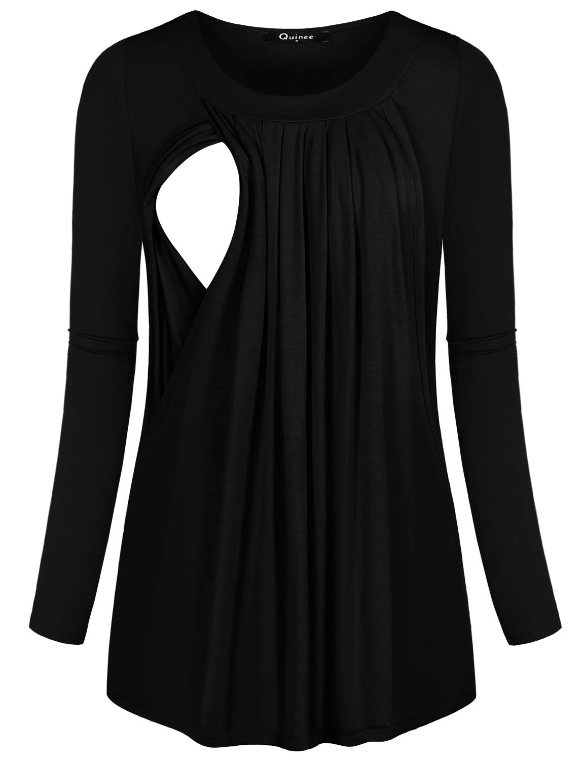 Quinee Nursing Shirts, Women Wide Neck Loose Fitting Ruffle Long Sleeve Curved Hemline Easy Fitting Fall Cotton Blend Solid Color Smooth Material Well Made Cozy Maternity Breastfeeding Tops Black L