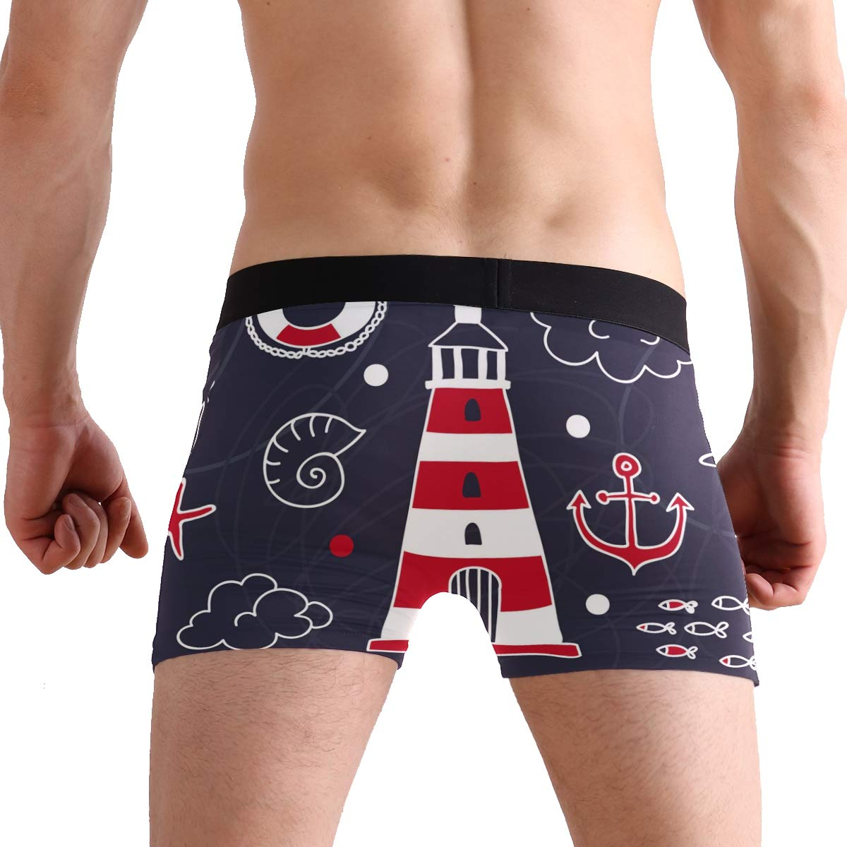 BETTKEN Mens Boxer Briefs Cute Nautical Anchor Set Lighthouse Short Underwear Soft Stretch Underpants for Men Boys S-XL
