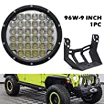 UNI Balance 9 INCH 96W Round Led Light 9000LM Front Bumper Driving Lights Spot Beam for Offroad Vehicle Jeep Wrangler Ford Toyota Pickup 4WD ATV SUV Boat Truck Bulldozer Excavator Forklift
