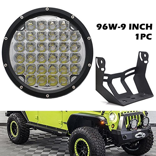 UNI-Balance 9 INCH 96W Round Led Light 9000LM Front Bumper Driving Lights Spot Beam for Offroad Vehicle Jeep Wrangler Ford Toyota Pickup 4WD ATV SUV Boat Truck Bulldozer Excavator Forklift