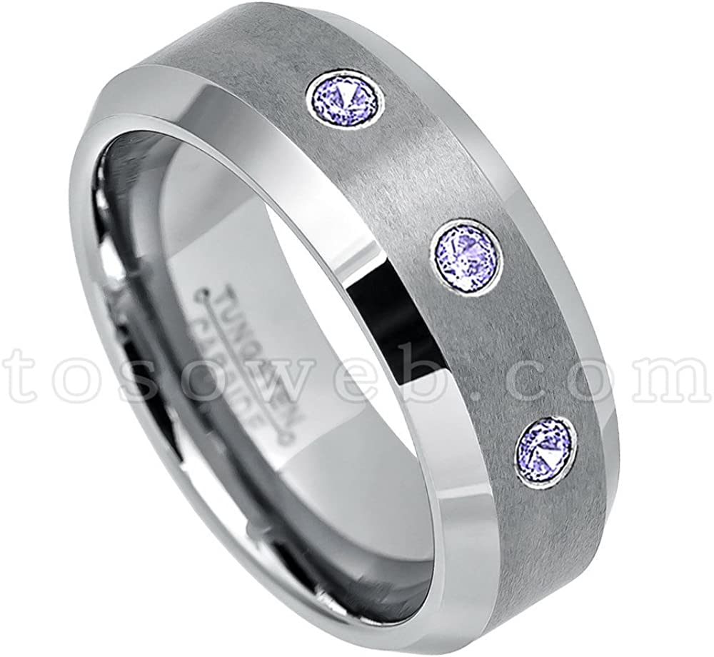 5.5 6MM Brushed Finish Comfort Fit Classic Dome White Wedding Band 0.21ctw Tanzanite /& Diamond 3-Stone Titanium Ring