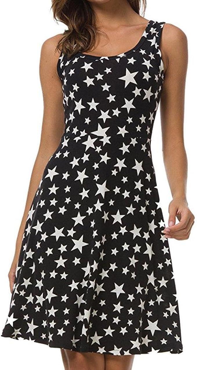 kingko Damen Kleid Ärmelloses Kleid aus Bedruckter Viskose Viskose
