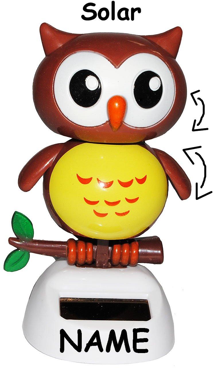 Wetterfest f/ür Au/ßen /& Innen Wackeleule // Wackelfigur incl Name lustige Eule Gartend.. Garten Solar Unbekannt Wackeltier Armaturenbrett Eulen Tiere