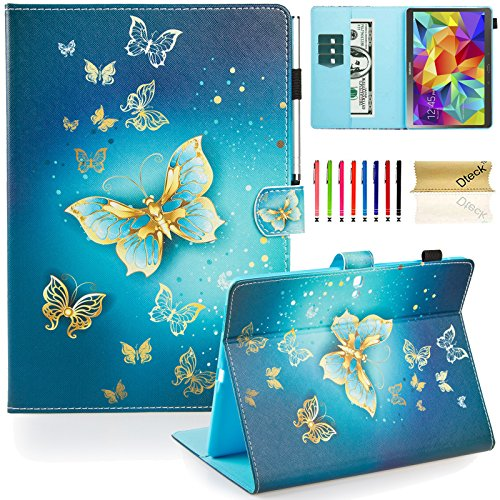 Galaxy Tab S 10.5 Case, Dteck(TM) Slim Fit Colorful Cute PU Leather Flip Stand Case with Auto Sleep/Wake Function Wallet Cover Smartshell for Samsung Galaxy Tab S 10.5 inch SM-T800, Gold Butterfly