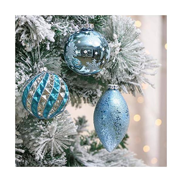 Valery Madelyn Palle di Natale Vetro Addobbi Natalizi Set, 10 Pezzi 8-12cm White And Blue Palline di Natale Decoration for Addobbi Natalizi per Albero 6 spesavip