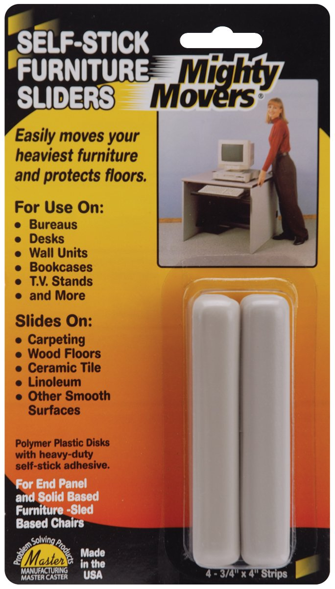 Master Caster Mighty Movers Self-Stick Furniture Sliders-.75x4 Strips 4/Pkg