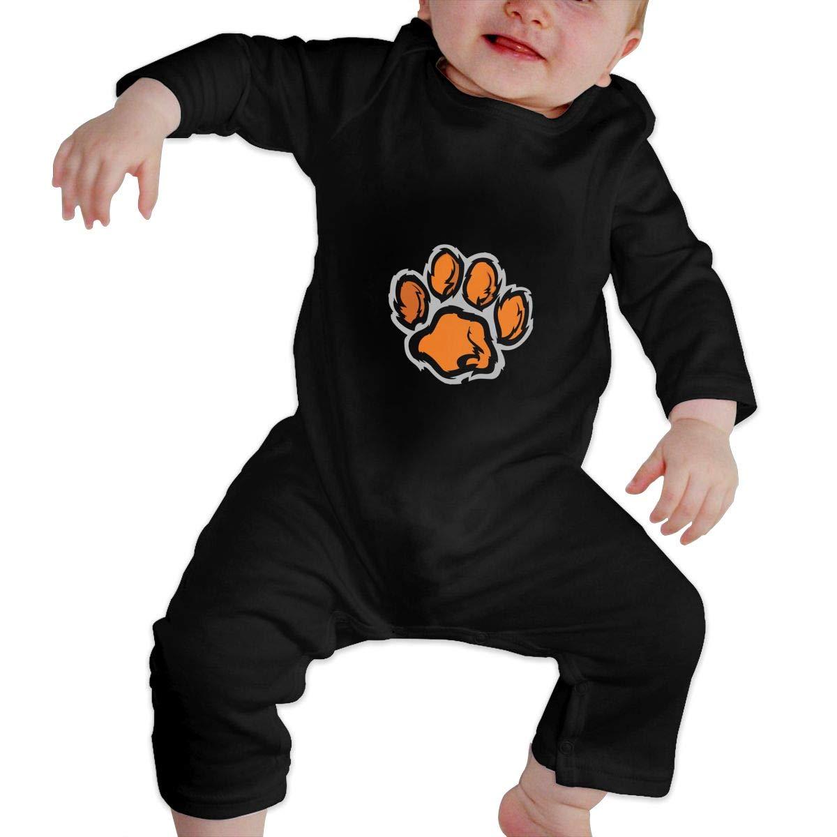 Cute Footprint Animal Furry Cotton Crawler Infant Baby Girls Boys Long Sleeve Bodysuit
