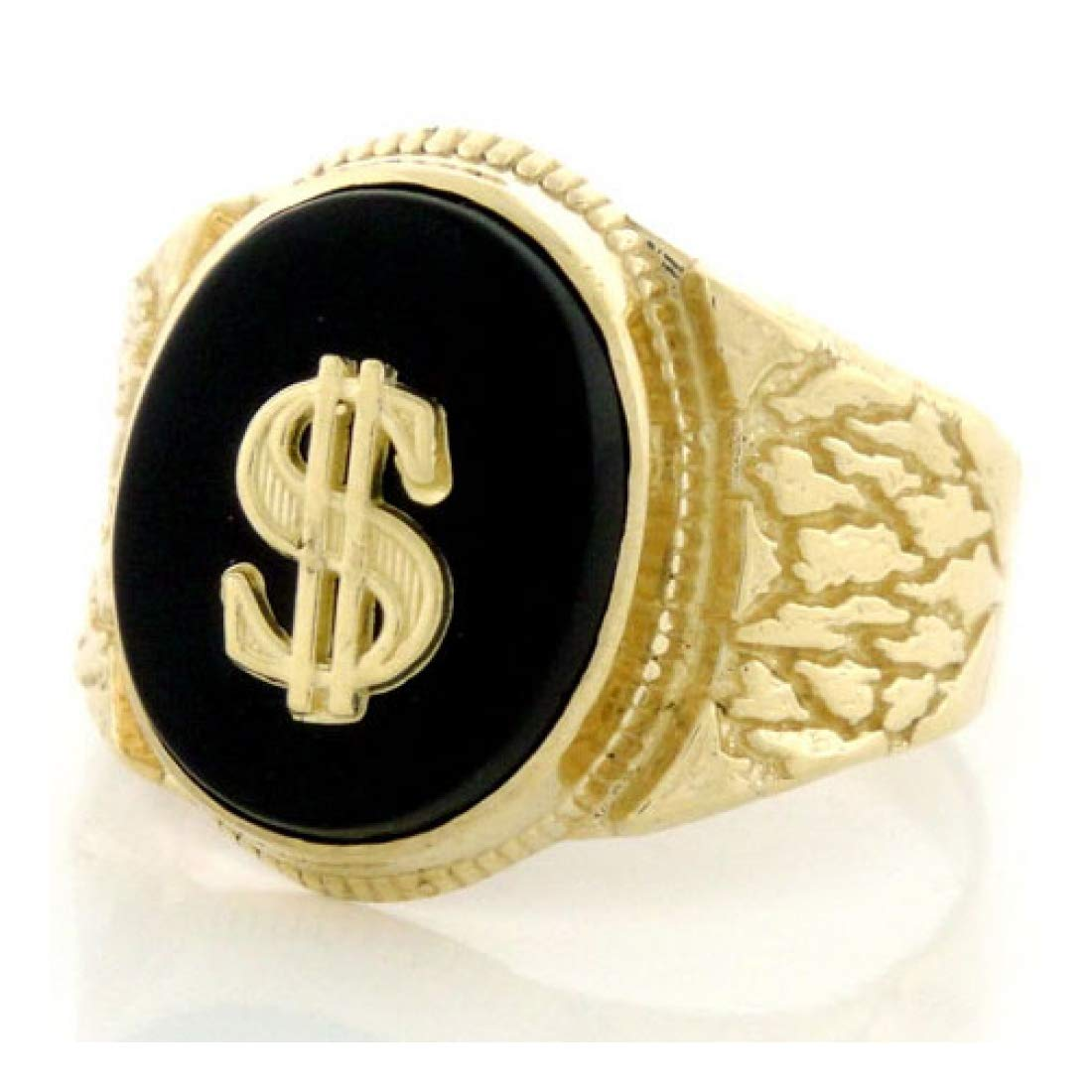 14k Solid Gold Nugget Oval Onyx Mens Ring w/Dollar (Style# 1909) - Size 9