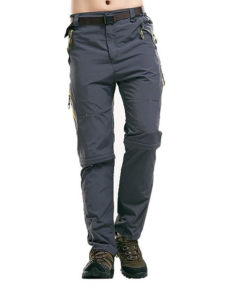 Leezepro Outdoor Hose Herren Zipped Off Schnell Trockend Zwei Teile  zerlegbar Wanderhose mit Gürtel für Outdoor bbdc3b1a46