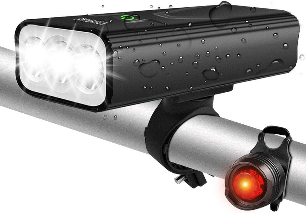 EBUYFIRE Luz Bicicleta Recargable USB,luz Delantera Bicicleta 3000 Lúmenes Super Brillante 3LED,Y una Luz Trasera,3 Modo 5200mAh,Apto para Todas Las Bicicletas.
