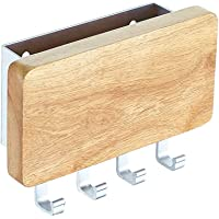 KAIYING Key Holder, Mail, Letter and Key Organizer Wall Mounted with 4 Hooks,Decorative Wood Aluminum Key Chain Rack…