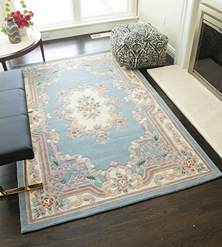 Rugs America RA21551 New Aubusson Area Rug, 5' x 8', Light Blue