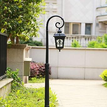 Retro Lámpara de pedestal,luz de mástil negro,E27 Lámpara impermeable para jardín Lámpara para exteriores Lámpara de aluminio fundido y lámpara de calle de sombra de vidrio Altura 220CM: Amazon.es: Iluminación