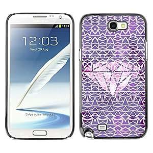 Planetar® ( Diamond Purple Pink Carat Pattern ) SAMSUNG Galaxy Note 2 II / N7100 Fundas Cover Cubre Hard Case Cover