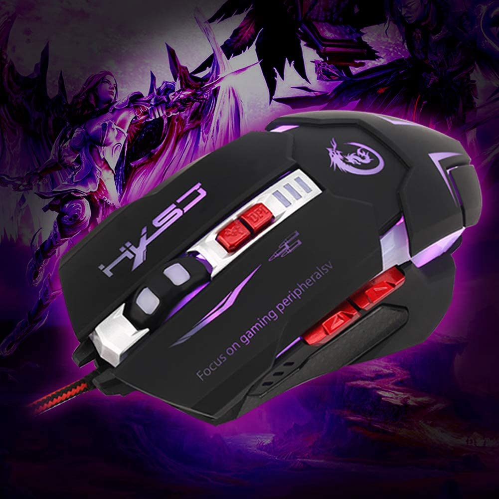 Shentesel Gaming Player Mouse 3200 DPI Adjustable 7 Button Wired LED USB Optical Mice Black