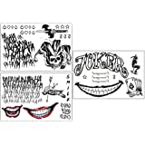 3 Sheets The Joker Temporary Tattoos from Suicide Squad,Tattoo Sticker Perfect for Halloween,Cosplay, Costumes and Party…