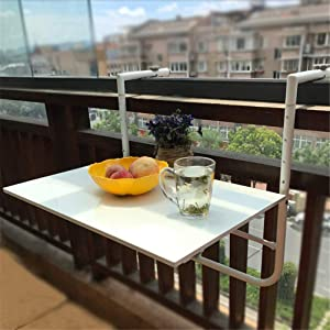 4 Levels Adjustable Attachable Balcony Table Folding Hanging Railing Table, Patio Railing Dining Table Garden Patio Furniture Reading Table