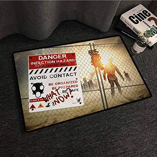 DILITECK Printed Door mat Zombie Dead Man Walking in Dark Danger Scary Scene Fiction Halloween Infection Picture Hard and wear Resistant W16 xL24 Multicolor