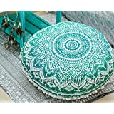 """Bohemian Ombre Indian Mandala Pouf / Floor Cushion Cover,Organic Cotton, Hand Printed, 30"""" by MandalaLifeART"""