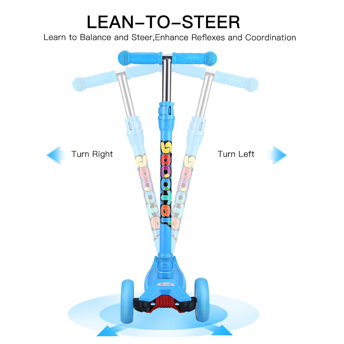 Amazon.com : OUTON Kick Scooter for Kids 3 Wheel Lean to ...