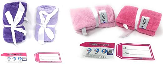 Turbie Twist 4 Pack Light Pink Dark Pink Light Purple Dark Purple Microfiber towels