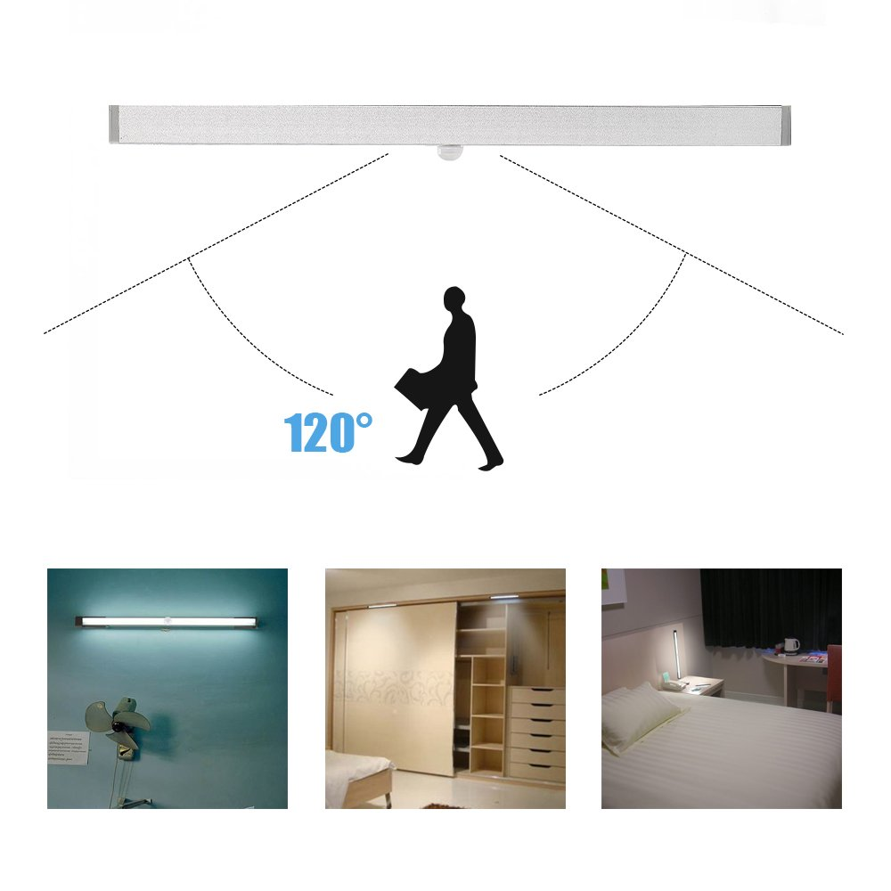 Luces de Noche con Detectores de Movimiento, Elfeland®Luces LED Armarios con 18 LED Tiras de LED Tres Modos (Encendido / Apagado/ Automático) Carga de USB ...