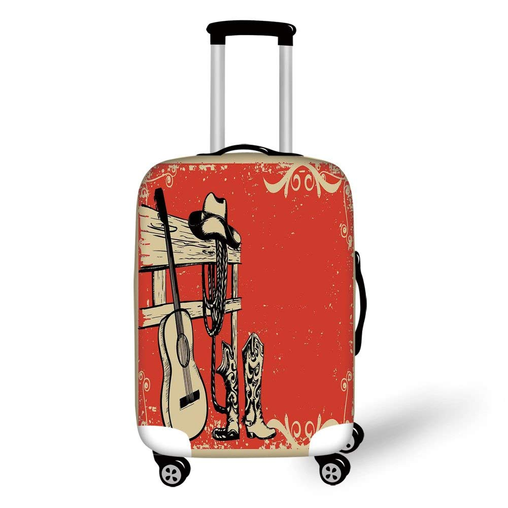 Travel Luggage Cover Suitcase Protector,Western,Image of Wild West Elements with Country Music Guitar and Cowboy Boots Retro Art Decorative,Beige Orange,for TravelXL 29.9x39.7Inch by SJuczi